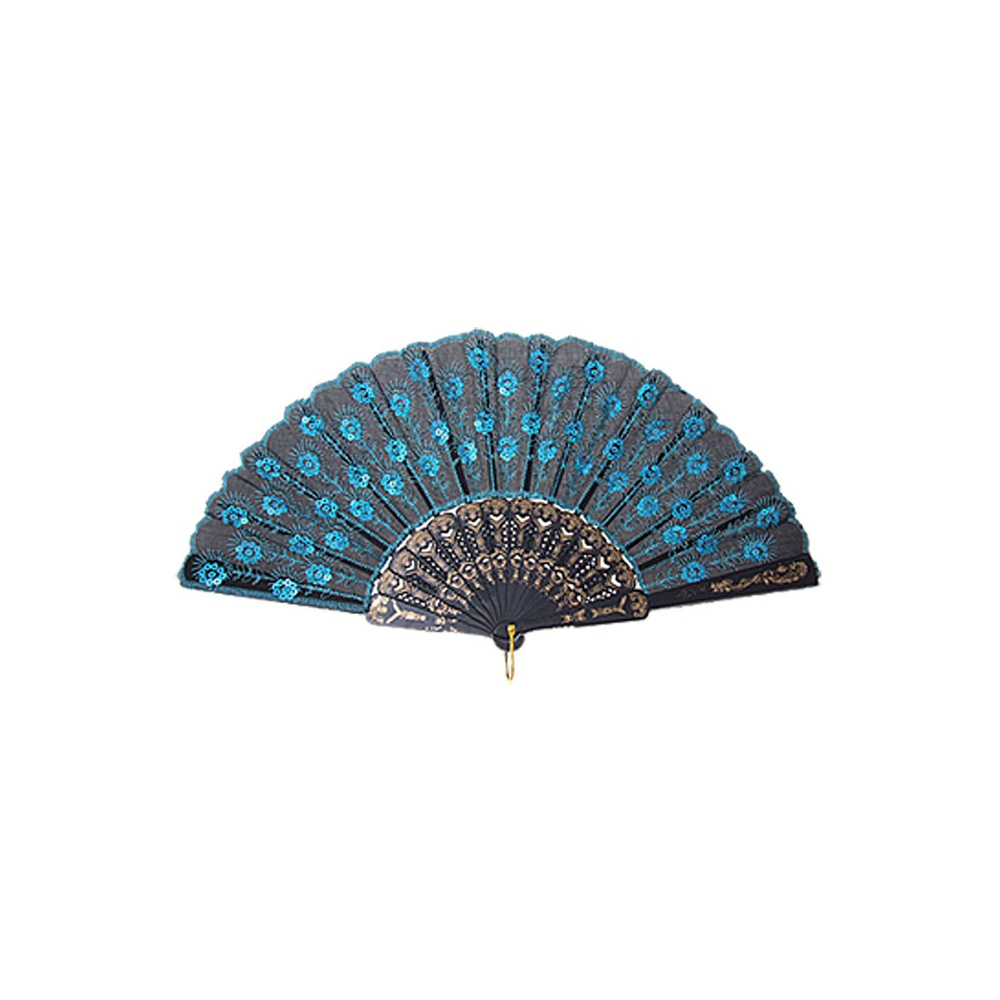 Blue Chinese Japanese Folding Peacock Hand Fan Bead Fabric US Seller Decor New,Free Shipping(China (Mainland))