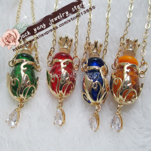 2014 new 6pcs/lot High Quality handmade murano glass Perfume/oil Bottle plated gold alloy pendant necklace with crown cork(China (Mainland))