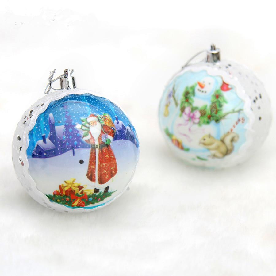 Christmas Tree Decoration 8cm colored printed luxurys equins Christmas saint ball 4pcs/lot(China (Mainland))