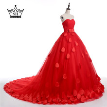 In stock Dress Royal Red New Flower Wedding Dresses Sexy Women Girl Wedding Dress Gown 2016(China (Mainland))