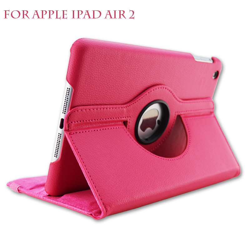 For iPad Air 2 Leather Case 360 degrees flip leather back cover case For apple ipad