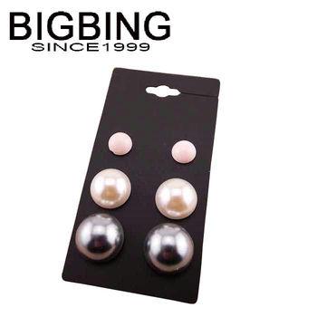 Bigbing ювелирные изделия мода половина перл стад серьги стержня серьги 3 pairs высокое качество никель бесплатно Tl214