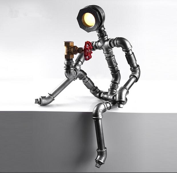decoracao em lampadas:Modern breve café decoração de mesa robô lâmpada Led lâmpada em