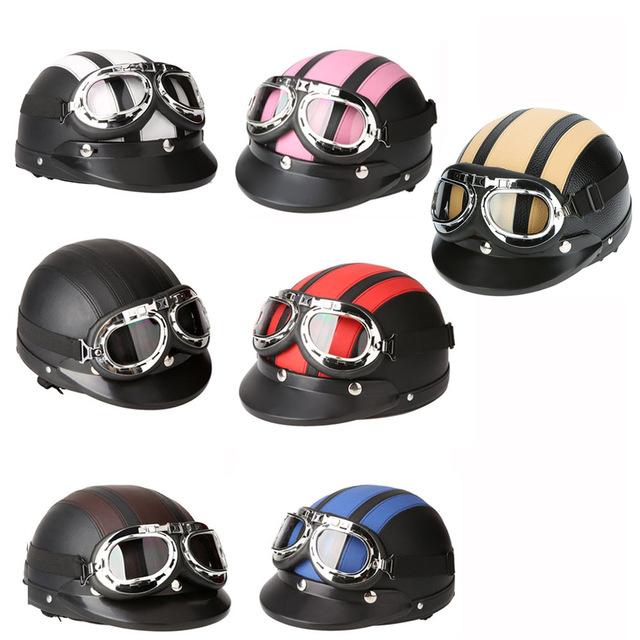Motorcycle Scooter Open Face Half Leather Helmet with Visor UV Goggles Retro Vintage Style 54-60cm for Security Accessories