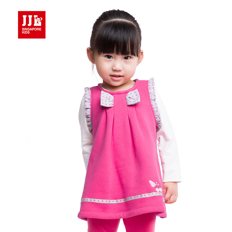 girls dresses classical A-line style sleeveless baby girls clothes sweet bow design character pattern round neck chest(China (Mainland))