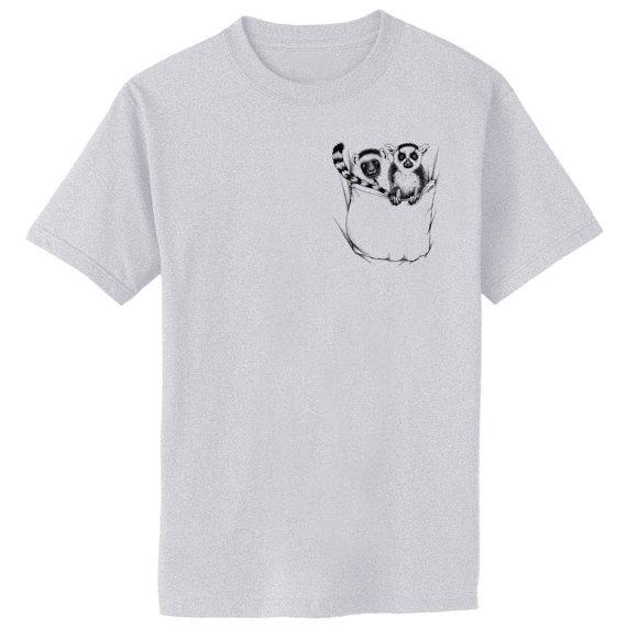 Lemurs In Pocket T Shirt Men 39 S Top Design Casual Printing