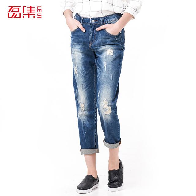 Leiji мода S 6XL 2016 роковой парень синий разорвал Большой размер женщин на всю ...