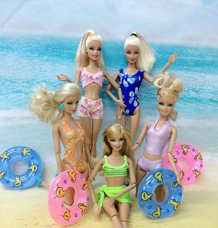 5Pcs Horny Swimwear Bikini Garments For Barbie Doll & 5pcs Mini 1:6 Doll Swimming Buoy Lifebuoy for Barbies Doll Equipment