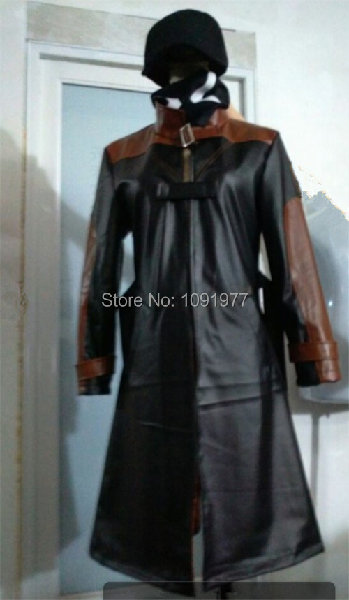 Watch Dogs Aiden Pearce Jacket Coat+hat+mask Cosplay Costume Custom Made(China (Mainland))