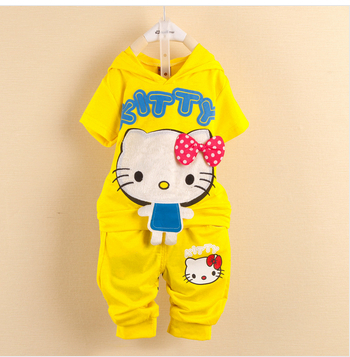 Wholesale(4 sets/lot) Cartoon Hello Kitty Children Short Sleeve Clothing Sets Kids Suits Baby Outerwear(China (Mainland))