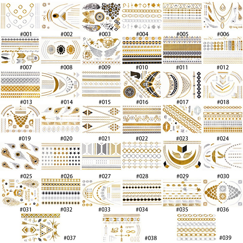 1 Sheet High Quality 39 Kinds of Temporary Metallic Tattoo Fancy Body Gold Tattoo Silver(China (Mainland))