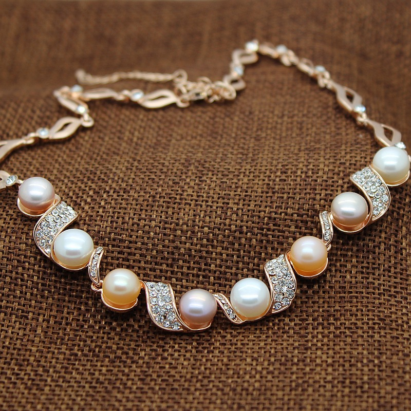 Natural Pearl Necklace Freshwater Pearls Necklaces for women with colour 9-10mm 100% cultured pearl Jewelry