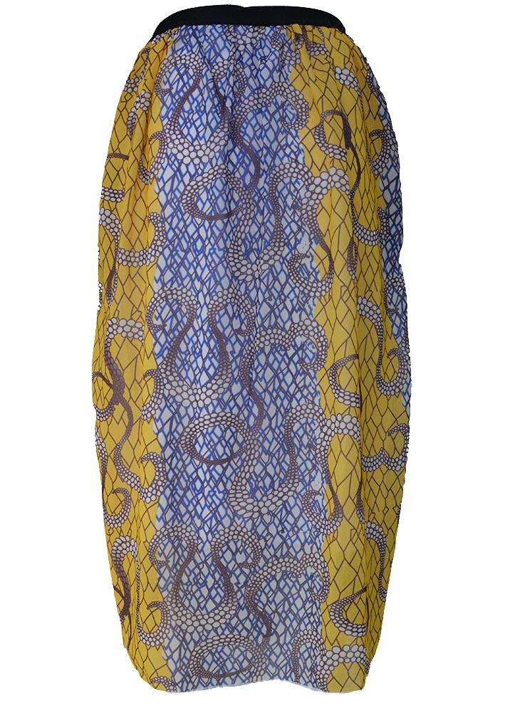 Women Female Printed Chiffon Flat A Line Elegant Long Maxi Mid Calf Stylish Swing Skirts Yellow S/M/L/XL(China (Mainland))