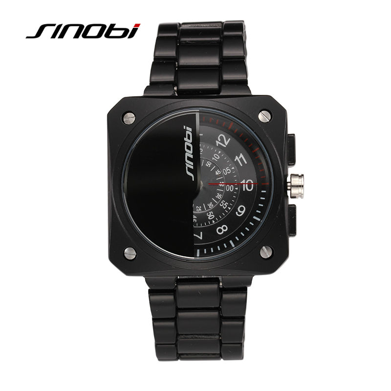 SINOBI Mens Automatic Watches Two Turntables Male Black Square Business Quartz-watch Gents Tungsten Military Wristwatches Reloj<br><br>Aliexpress