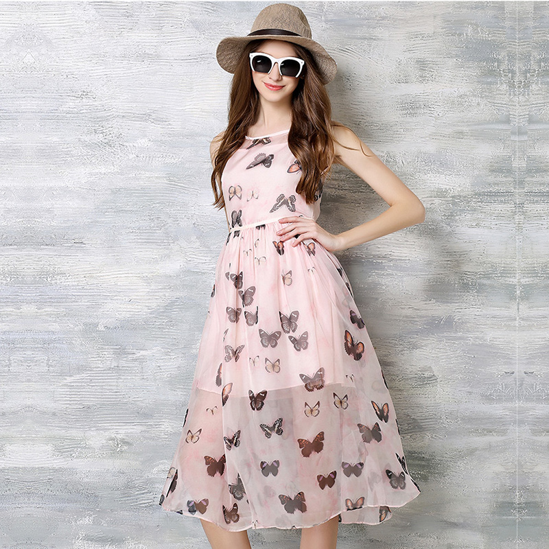 New Arrival European Fashion Style Butterfly Print Summer Dress O neck Women Sleeveless Casual ...