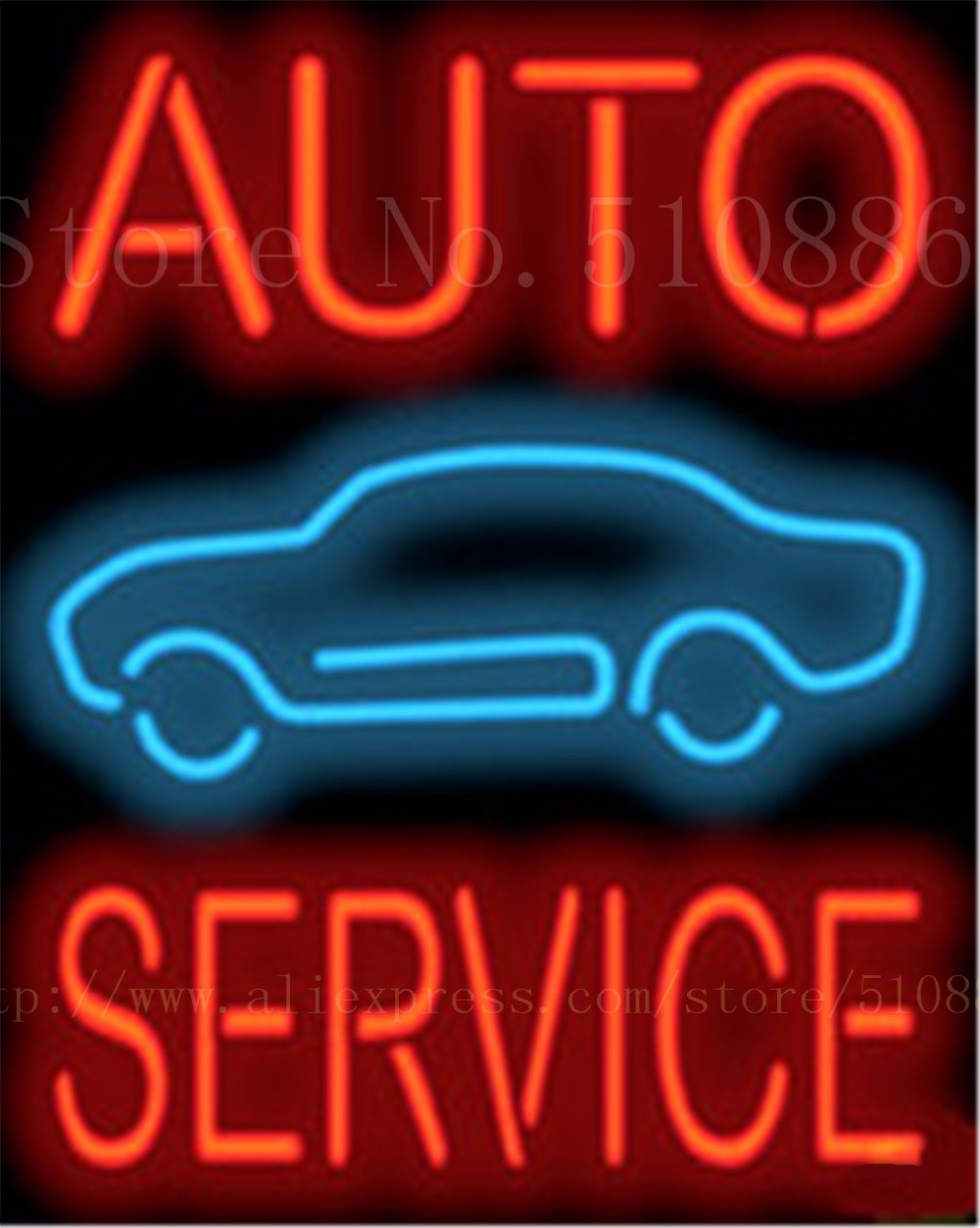 """Auto Service Car Repair Real Glass Tube Car neon sign Garage Handcrafted Automotive signs Shop Store Business Signboard 19""""x15""""(China (Mainland))"""