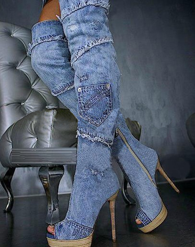 womens peep toe boots blue denim boots for thin