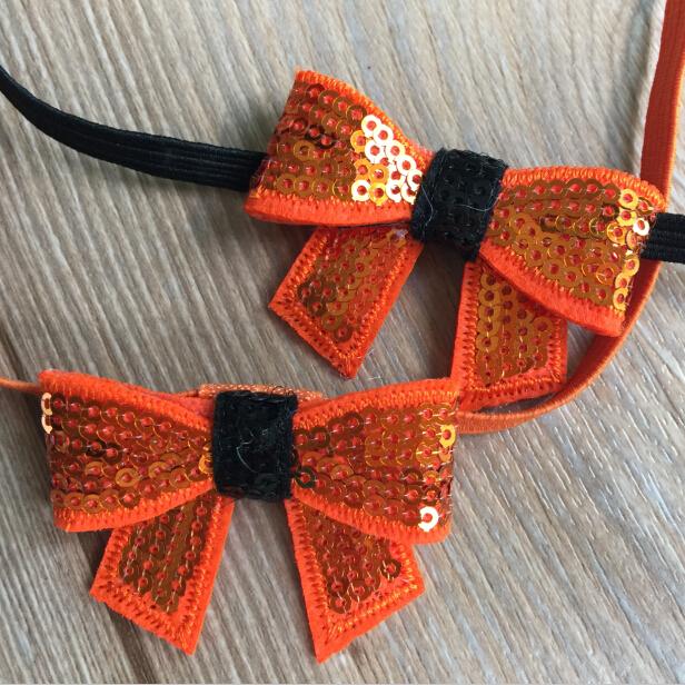 20pcs/lot ePacket/CAPA Free Halloween Orange Black Sequin Bows 1/4'' Skinny FOE Headband Hair Accessory(China (Mainland))
