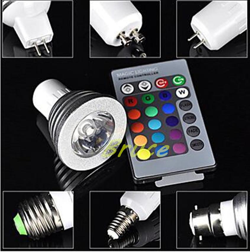 RGB spotlights E27/GU10/E14 AC 110-240v MR16 DC12v RGB Lamp LED 4W 16 Color Changing Lamp Light Bulb +24 Key IR Remote Control(China (Mainland))