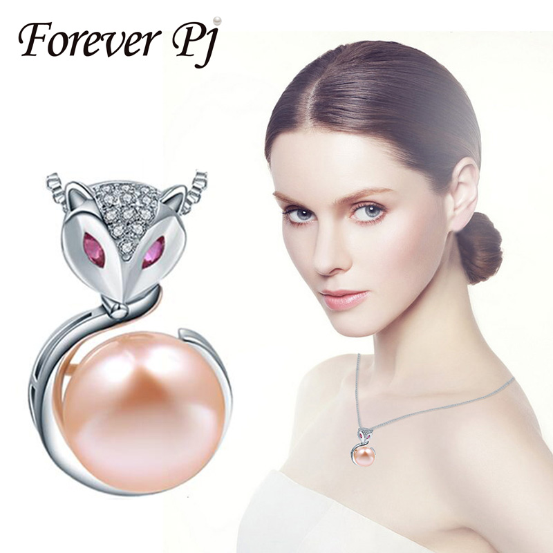Forever 925 Sterling Silver Fox Pendants Necklace With 10-10.5mm Button Freshwater Pearls Jewelry For Women Gold Silver Pendant(China (Mainland))