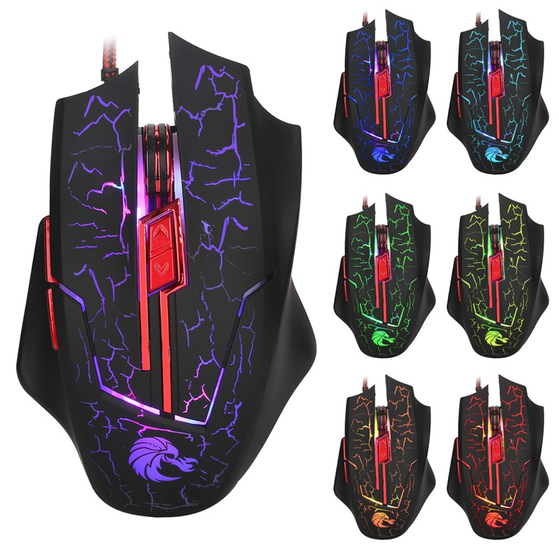 Wired Optical Mouse 2.4G Computer Mouse 5500DPI Adjustable 6 Buttons Colorful LED Backlit USB Gaming Mouse PC Mice for Laptop
