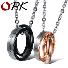 OPK Stainless Steel Couple Pendent Necklace His & Hers Fashion Matching Set 2015 Romantic Couple Jewelry, GX860(China (Mainland))