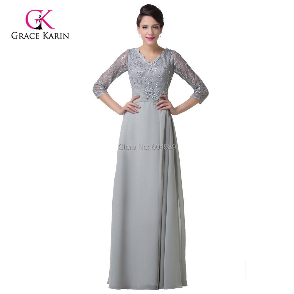 2015 elegant 34 sleeve lace womens long grey evening