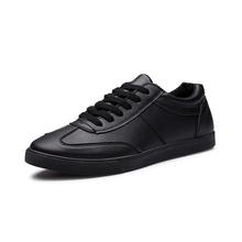 Los Nuevos 2016 Hombres Y Mujeres Transpirable Zapatos de Cuero Desgaste Moda Casual Zapatos Cómodos de Los Hombres Negros Zapatos XZ33