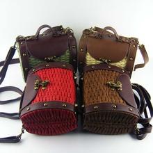 Baroque street magazine model vintage leather+straw bag women messenger bag woven box makeup bag dining bags phone package B16