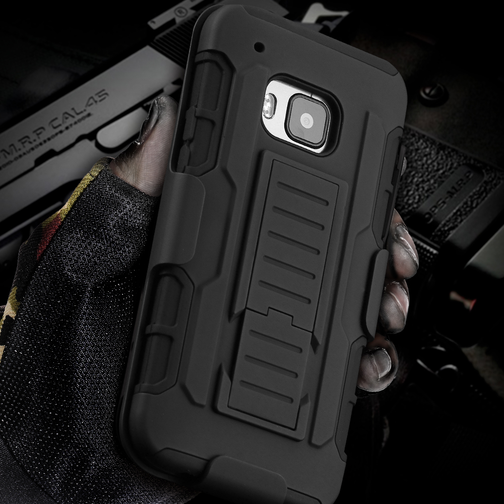 M7/M8/M9 Impact Rugged Kick-stand Armor Case Belt Clip For HTC One M7/M8/M9 Military Anti-Skid Heavy Duty Hybrid 3 in 1 BagCover(China (Mainland))