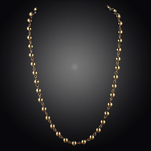 Free Shipping 2014 New Arrival Hot Selling  Women/Girl Gift 14k Gold Filled Yellow Bead Chain Pendant Necklace Fashion Jewelry(China (Mainland))
