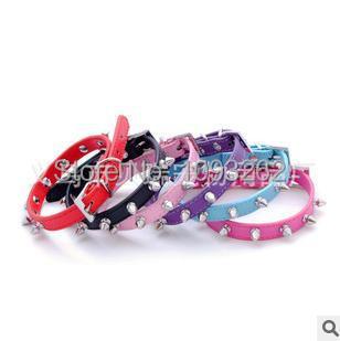 30pcs/lot dog collars leather spiked&studded CROCO dog collar color random free shipping CL031(China (Mainland))