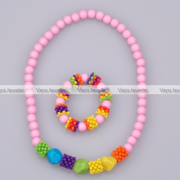 15% Off 12Sets/Lot Red Pink Purple Mixed Color Gear Spacers Bead Necklace Bracelet Kids Jewelry Sets Girls Costume Jewellery(China (Mainland))