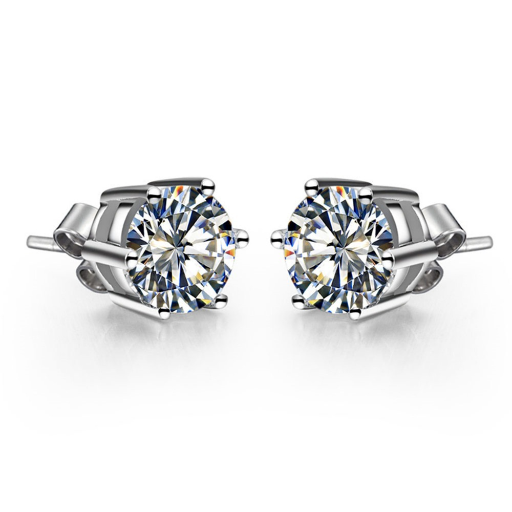 1 CT/ Piece Vintage Luxury Design Round Cut Six Prong SONA Synthetic Diamond Stud Earrings Sterling Silver White Gold Finish(China (Mainland))