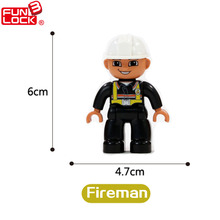 Funlock Duplo Role-play Action Figures Blocks Fireman Educational Kids Toys
