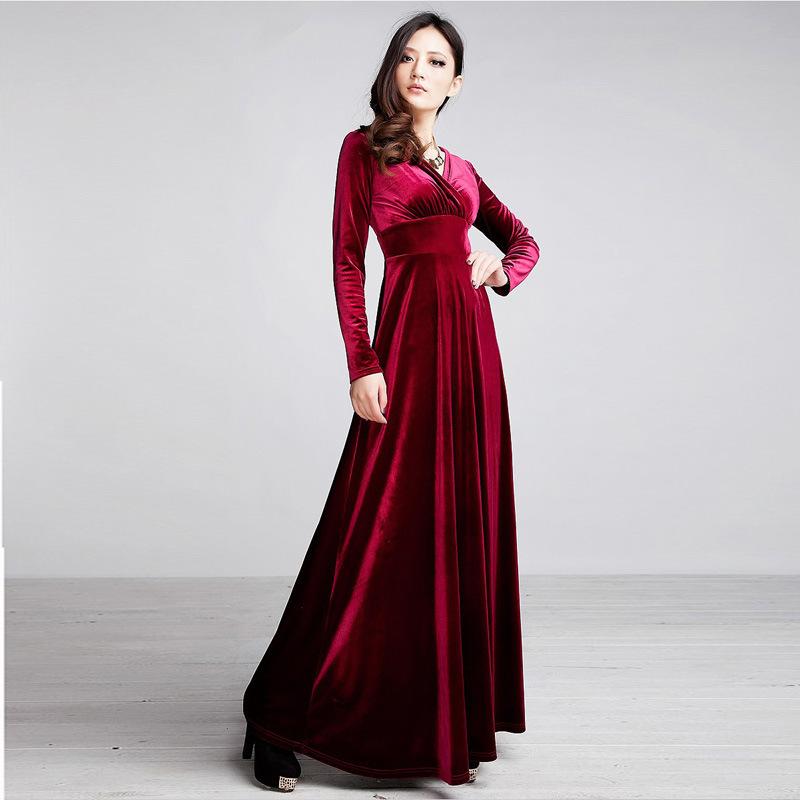 Retail Womenu0026#39;s Long Maxi Casual Winter Dress Long Sleeve V Neck Plus Size Velvet Elegant Evening ...