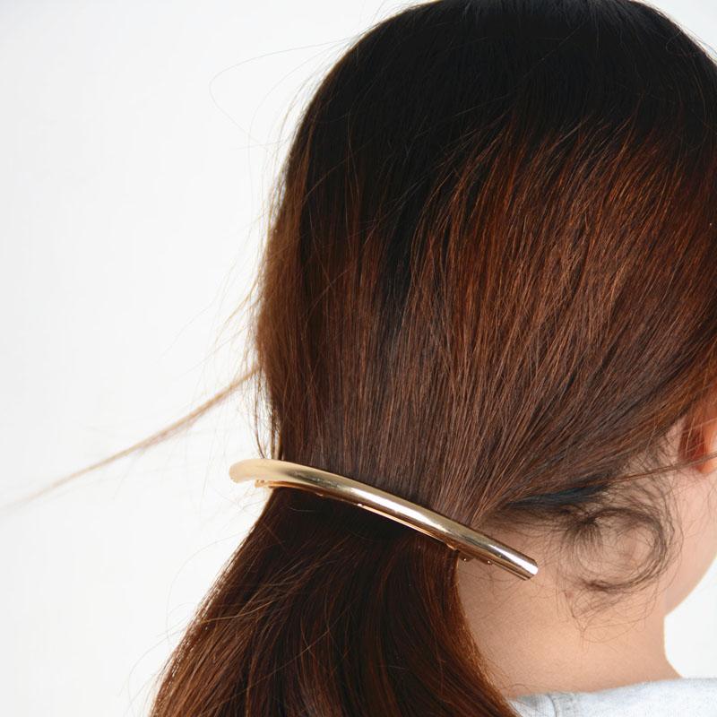 1PC Women Ladies New Metal Gold/Silver Plated Plain ARC Tube Big Hairpin Hairgrip Hair Clips Barrettes Hair Accessories(China (Mainland))