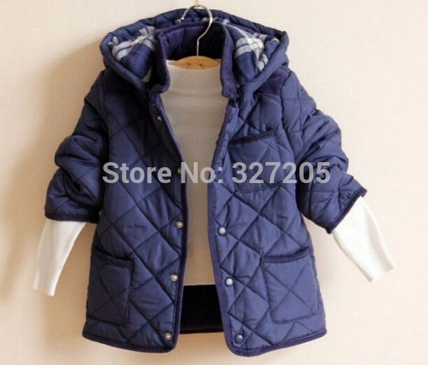 New 2015 kids Hooded jackets boys outwear& coat For children Plaid cotton-padded winter autumn jacket for boys Children clothing(China (Mainland))