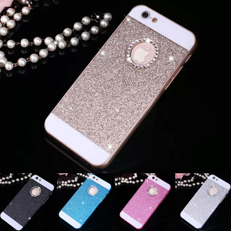 Hot Bling Bling Phone Case Shinning Glitter Protector Shell Phone Back Cover with Rhinestone for Apple iPhone 5 5S SE(China (Mainland))