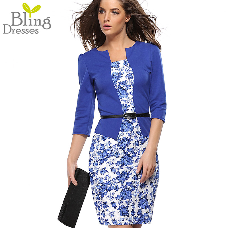 Summer Dress Style Dresses 2016 Bodycon Women Fashion Sheath Sexy Office Lady Flower Patchwork Tunic Patchwork