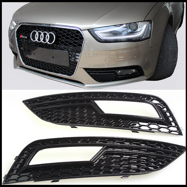 ABS black A4 RS4 type fog lamp Honeycomb Grille Auto Car Front Bumper fog lamp cover Grill or Audi A4 S4 2013-2015 change to RS4(China (Mainland))