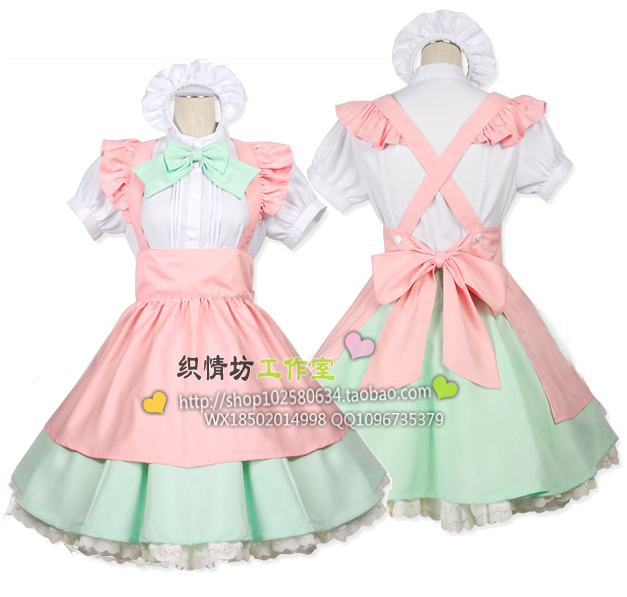2015 New Cute Kawaii Maid Cosplay Costume Housewife Women's Lolita Dress Vintage Ball Gown for Halloween Party от Aliexpress INT