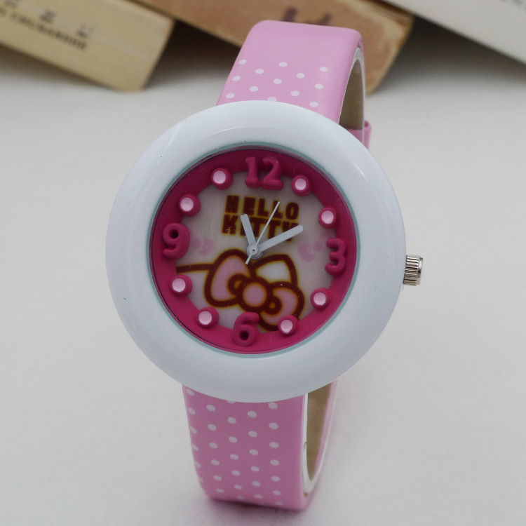 Original 2016 New Fashion Children 3D Scale Japan Quartz Watch Girls Cartoon Hello Kitty Polka Dot Strap Wristwatches(China (Mainland))