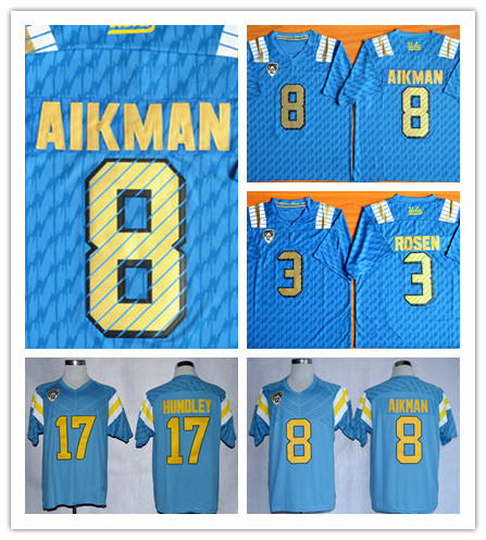Cheap New Style NWT UCLA Bruins Low Price #8 Troy Aikman Jersey Blue True 3 Josh Rosen 17 Brett Hundley College Football Jerseys(China (Mainland))