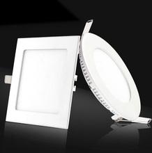 AC85-265V SMD 2835 Ultra Thin led panel downlight 3w 4w 6w 9w 12w 15w 18w 24w Round/Square LED Ceiling Recessed Light(China (Mainland))