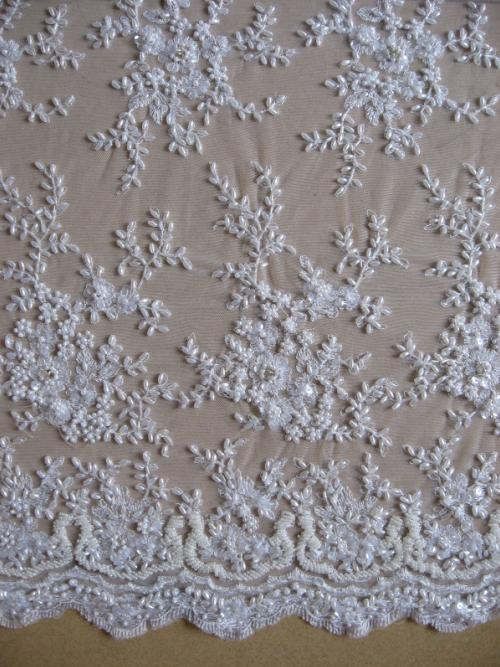 1meter lates french beaded lace fabric wedding pearl beads for French lace fabric for wedding dresses