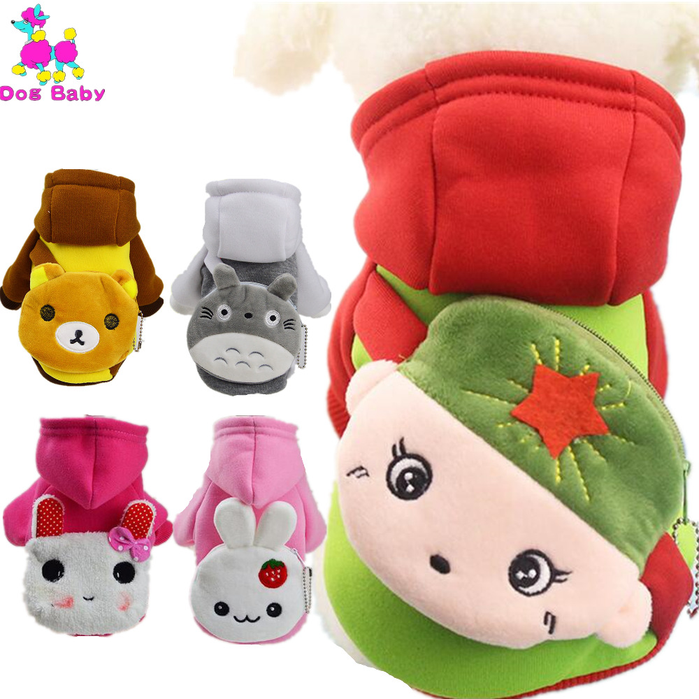 New Coin Pocket Dog Clothes Winter Soft Pet Coat Two Legs Warm Cotton Hoodies Fashion Cartoon Design Dogs Cats Clothing 13 Style(China (Mainland))