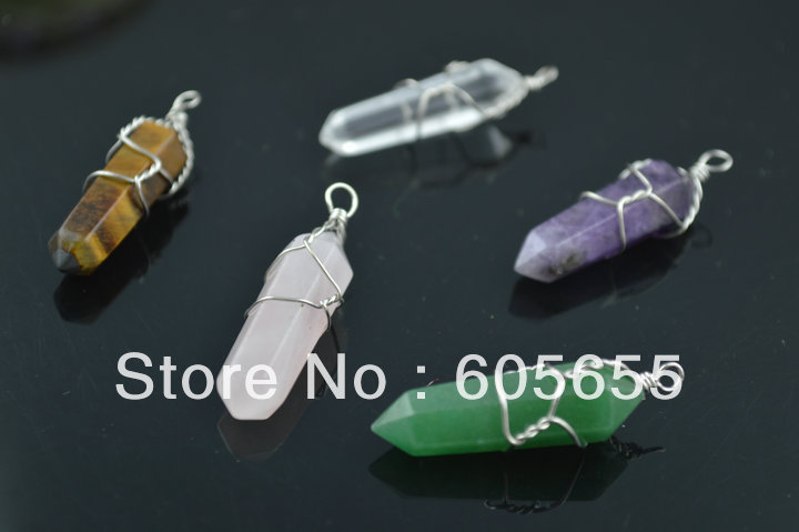 Mix Natural Stone Point Pendant warpped wire Crystal/Amethyst/ Tiger Eye/Rose Quartz/ Aventurine pendant(China (Mainland))