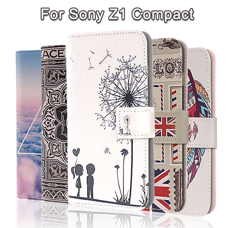 Fashion Painting Cross Lines Flip Wallet Case for Sony Xperia Z1 Compact Cover Sony Z1 Compact Case Coque Fundas PU Leather(China (Mainland))