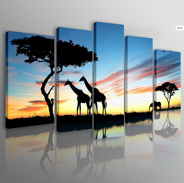 Free shipping 5pcs Home Decor Wall Art canvas Painting of nature scenery giraffe Modern Decorative oil Paintings no frame(China (Mainland))